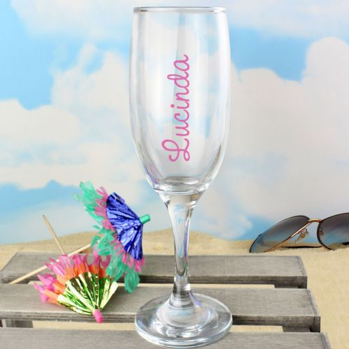 Personalised Pink Island Flute Glass